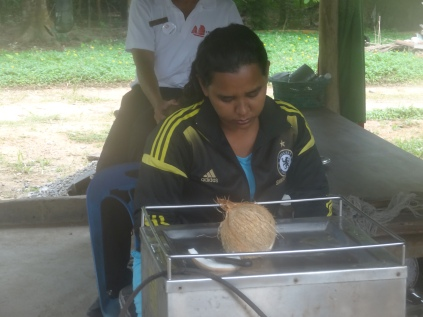 At the coconut demonstration
